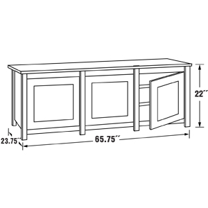 Sanus - Woodbrook - Triple-Wide Six-Shelf TV Stand