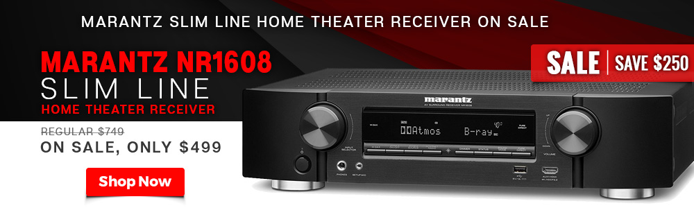 Marantz Slim Line Home Theater Receiver on Sale - Marantz NR1608 Slim Line Home Theater Receiver - Regular $749, On Sale, Only $499 - Save $250 - Shop Now