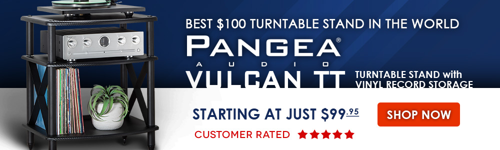 Best $100 Turntable Stand in the World - Pangea Audio Vulcan TT Turntable Stand with Vinyl Record Storage - Starting at Just $99.95 - Customer-Rated Five-Stars - Shop Now